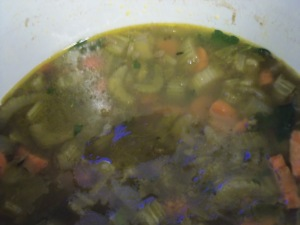 Lentil soup--I;m not sure what the blue reflection is from