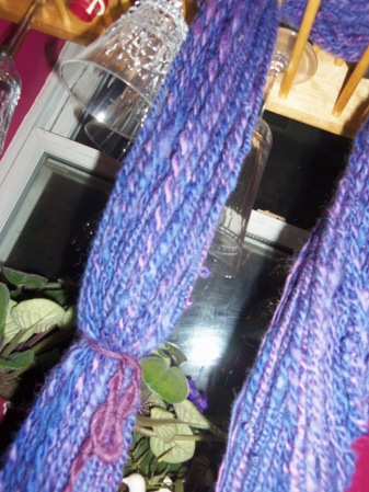 purple handspun drying in the kitchen