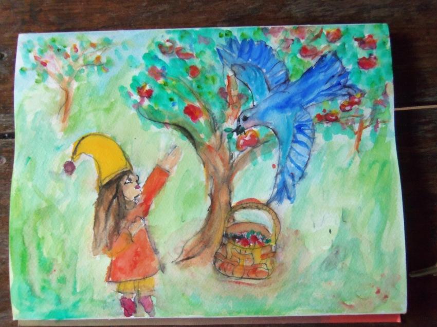 Gloria and bluebird pick apples