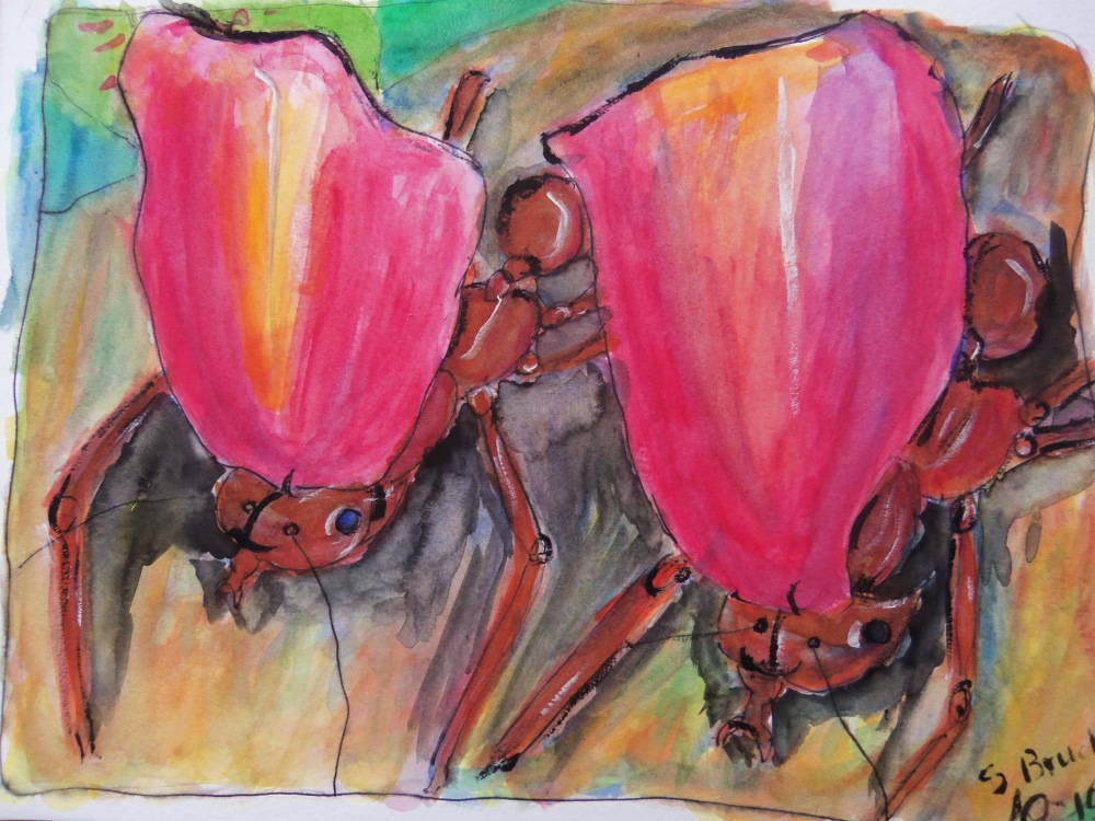 Hermione Ant ant Hattie Ant with Rose Petals by me--ink and watercolor